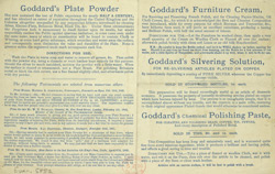 Advert for Goddard's Cleaning Materials, reverse side